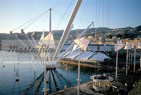 Bigo (grue) par Renzo Piano, Vieux-Port (Porto Antico), Gênes (Genova), Ligurie, Italie, Méditerranée, Europe