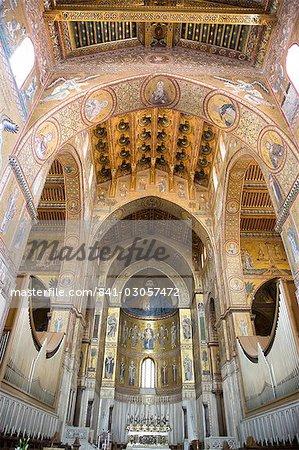 Nef de la cathédrale de Monreale, Sicile, Italie, Europe