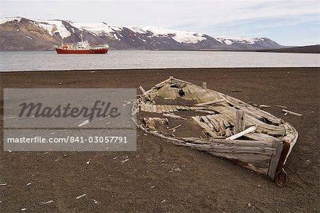 Ancien baleinier, téléphone Bay, île de la déception, îles Shetland du Sud, l'Antarctique, régions polaires