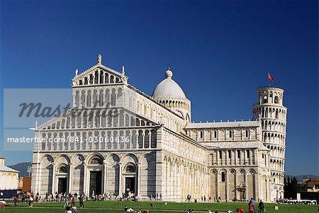Duomo (cathédrale) et la tour penchée de Pise, Campo dei Miracoli, patrimoine mondial UNESCO, Pise, Toscane, Italie, Europe