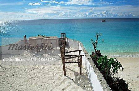 Balcony overlooking Indian Ocean, Nungwi beach, island of Zanzibar, Tanzania, East Africa, Africa