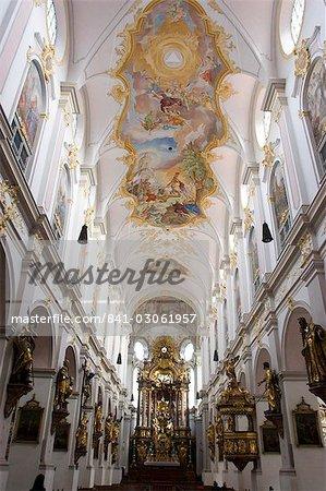 L'intérieur de St. Peters church, Munich, Bavière, Allemagne, Europe