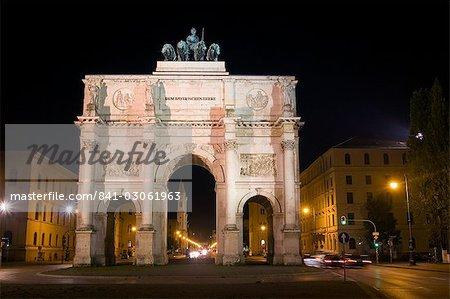 Siegestor (porte de la victoire), Munich, Bavière, Allemagne, Europe