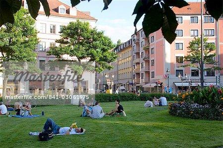 The beautiful Gartnerplatz around the trendy Glockenbachviertel neighbourhood, Munich, Bavaria, Germany, Europe