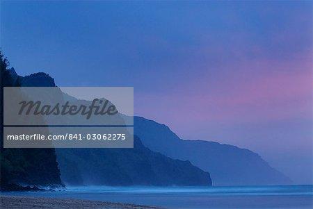 Côte de Na Pali de plage de Ke, sur l'île de Kauai, Hawaii, îles Hawaï, États-Unis d'Amérique, du Pacifique, en Amérique du Nord