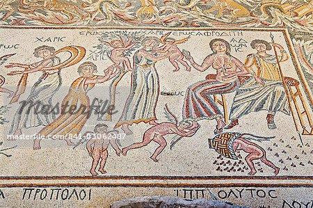 Floor mosaic, Church of the Virgin, Madaba, Jordan, Middle East