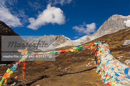 Prière drapeaux, réserve naturelle de Yading, Province du Sichuan, Chine, Asie