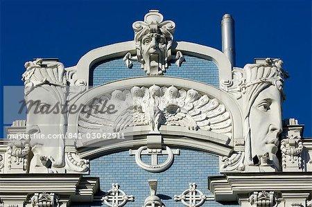 Architecture art nouveau, 10 b Elizabetes iela, conçu par Mikhail Eisenstein, Riga, Lettonie, pays baltes, Europe