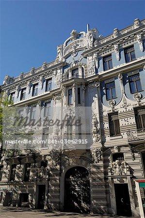 Architecture art nouveau, 10 b Elizabetes iela, conçu par Mikhail Eisenstein, Riga, patrimoine mondial de l'UNESCO, Lettonie, pays baltes, Europe