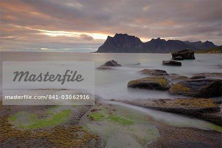 Sunset over Utakleiv, Vestvagoya, Lofoten Islands, Norway, Scandinavia, Europe