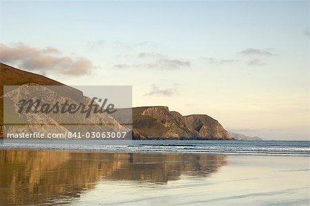 Minaun Cliffs de plage de la quille, l'île d'Achill, comté Mayo, Connacht, Irlande, Europe