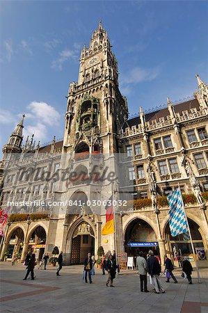 Neues Rathaus (hôtel de ville nouvelle), Marienplatz, Munich, Bavière (Bayern), Allemagne, Europe