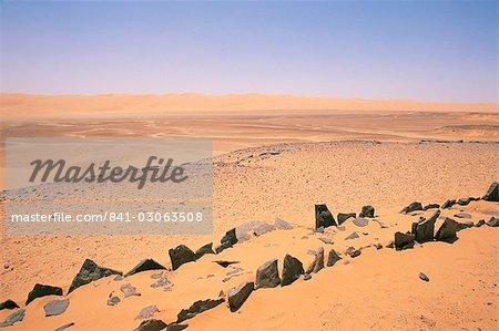 Règlement pré-islamique, Messak Mellet, au sud-ouest du désert, la Libye, en Afrique du Nord, Afrique