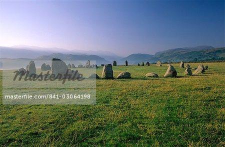 The Neolithic Castlerigg Stone Circle at dawn, near Keswick, Lake District National Park, Cumbria, England, United Kigndom, Europe