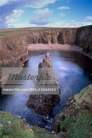 Christie's Hole, eroded volcanic rock coast of Papa Stour (Great Island of the Priests), Shetland Islands, Scotland, United Kingdom, Europe