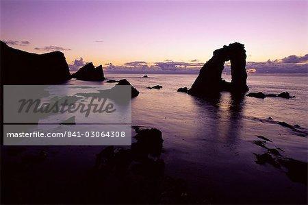 Gaada Stack, a natural arch 45m high, Foula Island, Shetland Islands, Scotland, United Kingdom, Europe