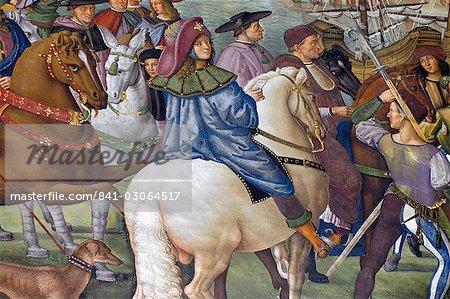 Fresque dans la bibliothèque Piccolomini par Pinturicchio Il datant du XVIe siècle montrant Enea Silvio Piccolomini (Pape Pius II) dans sa jeunesse, Duomo, Sienne, Toscane, Italie, Europe