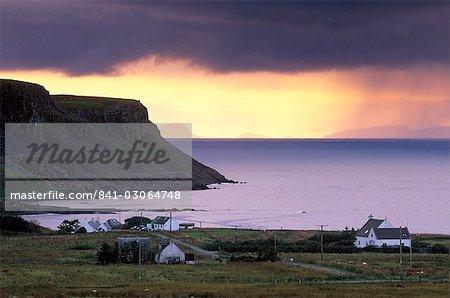 Sunset and stormy weather near Bornesketaig, Trotternish, Isle of Skye, Inner Hebrides, Scotland, United Kingdom, Europe