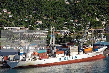 Porte-conteneurs, Carenage Harbour, de Saint-Georges, Grenade, îles sous-le-vent, petites Antilles, Antilles, Caraïbes, Amérique centrale