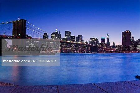 Brooklyn Bridge and Manhattan viewed from Brooklyn Bridge Park, Brooklyn, New York City, New York, United States of America, North America