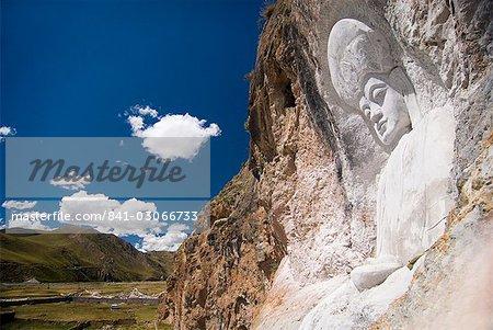 Bouddha sculpté dans la falaise côté, Yushu, Qinghai, Chine, Asie