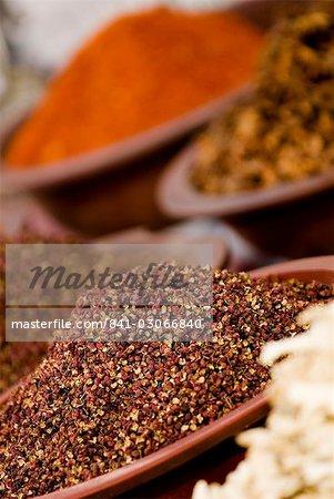 Épices pour vente, Dunhuang, Gansu, Chine, Asie