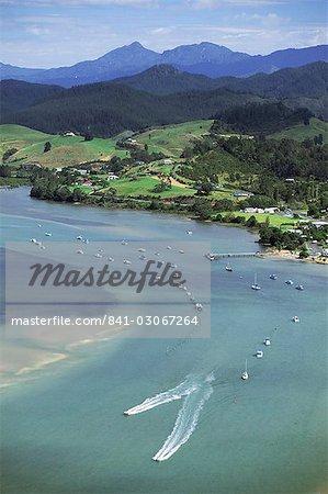 Aerial view of Tairua Harbour, east coast, Coromandel Peninsula, South Auckland, North Island, New Zealand, Pacific
