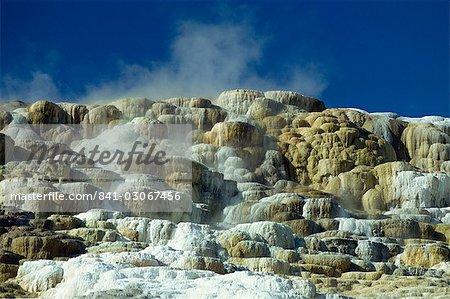 Gros plan sur les terrasses de calcaire formé par l'eau volcanique, du dépôt de six pouces de carbonate de calcium par an, Mammoth Hot Springs et terrasses, Parc National de Yellowstone, patrimoine mondial de l'UNESCO, Wyoming, États-Unis d'Amérique, Amérique du Nord