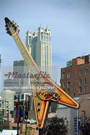 Signe de grande guitare Hard Rock Cafe, Chicago, Illinois, États-Unis d'Amérique, Amérique du Nord