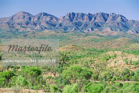 Regardant vers l'escarpement oriental de Wilpena Pound, un immense bassin naturel, dans le Parc National des Flinders Ranges, Australie-méridionale, Australie