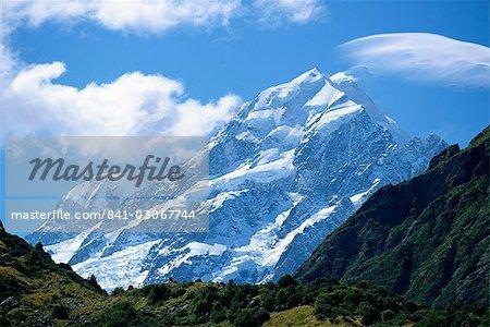 Mount Cook, à 3755m, la plus haute montagne dans N.Z., Canterbury, île du Sud, Nouvelle-Zélande, Pacifique