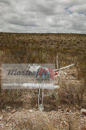 Fleurs sur croix, Longfellow, Texas, USA