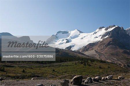 Glacier and Mountains, Columbia Icefield, British Columbia, Canada