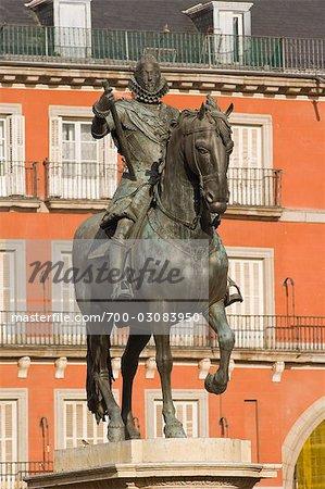 King Philip The Third, Plaza Mayor, Madrid, Spain