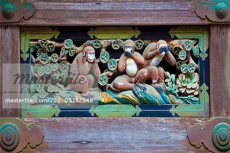 Three Monkeys Relief Sculpture, Toshogu Shrine, Nikko National Park, Japan
