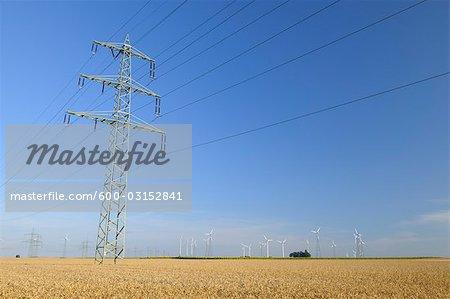 Electricity Tower and Wind Turbines, Rhineland-Palatinate, Germany