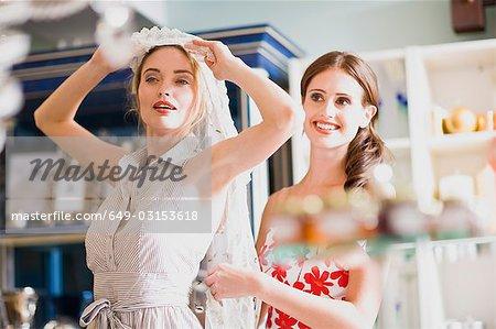 girls having shopping fun