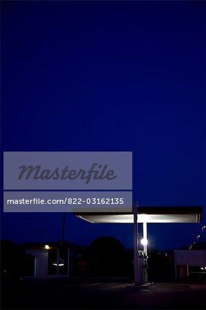 Deserted petrol station at night