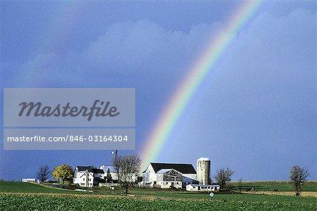 REGENBOGEN ÜBER FARMLAND LANCASTER COUNTY, PA
