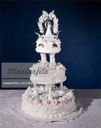 1960er Jahren Drei Tier Dekorierte Kunstvoll Hochzeitstorte
