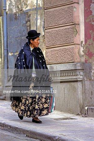 ELDERLY WOMAN ON STREET LA PAZ BOLIVIA