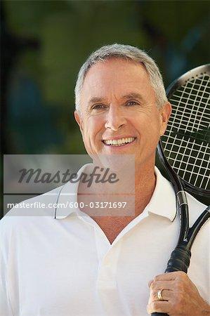 Portrait of Man Playing Tennis, Florida, USA