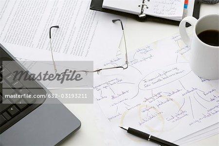 Hand written business plan on cluttered desk