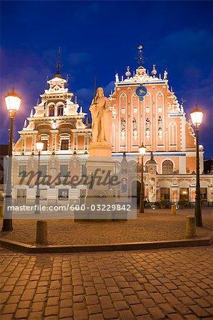 Maison des têtes noires, place de la mairie, la vieille ville, Riga, Riga District, Lettonie