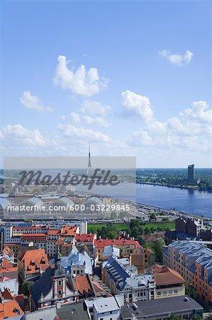 La rivière Daugava, Riga, Riga District, Lettonie