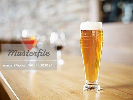 Still Life of Glass of Beer at Wine Bar, Toronto, Ontario, Canada