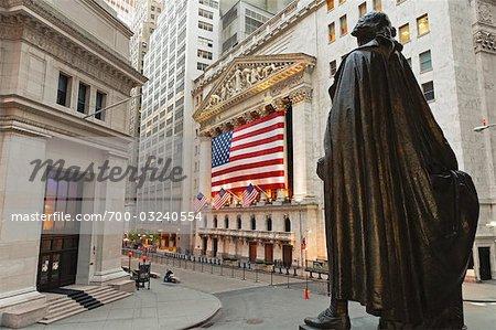 Bourse de New York et la Statue de George Washington, Manhattan, New York City, New York, États-Unis