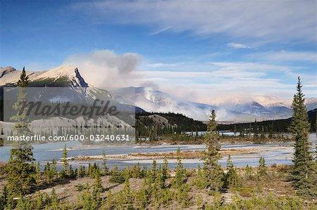 Les incendies de forêt et la rivière Saskatchewan, Parc National Banff, Alberta, Canada