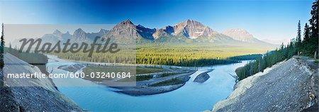 Vallée de l'Athabasca depuis le belvédère de la chèvre, le Parc National Jasper, Alberta, Canada