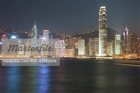 Hong Kong skyline at dusk from Kowloon